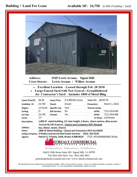 FOR LEASE - Land + Building