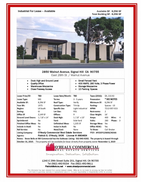 FOR LEASE - Offices + Warehouse in Signal Hill